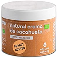 Crema de Cacahuete BIO Natural Athlete Orgánica, 100% Cacahuete Sin Azúcar, Sin Gluten -300 g