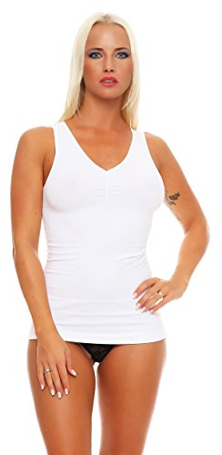 2 Stück Gr. 44/46 weiß Form Hemd Sport Damen Shirt Mieder Shape Weiss weiß beige schwarz Form Sport Freizeit Form-Unterhemden Shapewear, 2 Form-unterhemden Weiss, 44-46