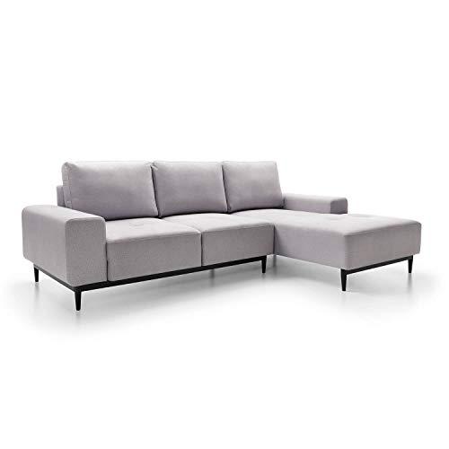 mokebo® Ecksofa \'Die Leichtfüßige\', modernes 3-Sitzer Sofa & Schlafsofa mit Bettkasten, Weboptik in Platingrau