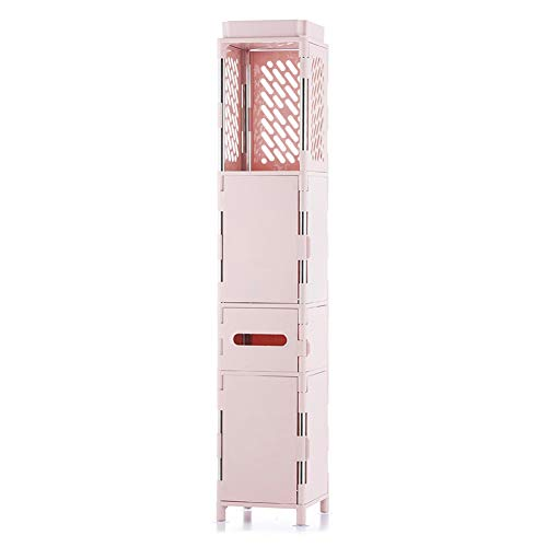YLLHK Badezimmerregal, Schmaler Badschrank mit 4 Etagen 103 x 20 x 20 cm, Kunststoff Edelstahl für Wohnzimmer, Schlafzimmer, Flur,...