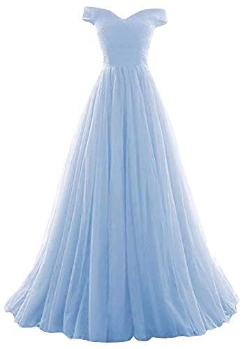Romantic-Fashion Damen Ballkleid Abendkleid Brautkleid Lang Modell E270-E275 Rüschen Schnürung Tüll DE Hellblau Größe 44