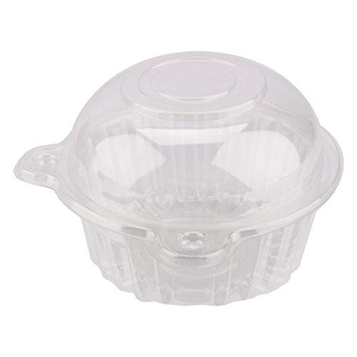 Yosoo 100 Pièces Boîtes à Gâteau Muffin Plastique Simple Clair Gousses de Cupcake Mini-Conteneur à Tête de Chat