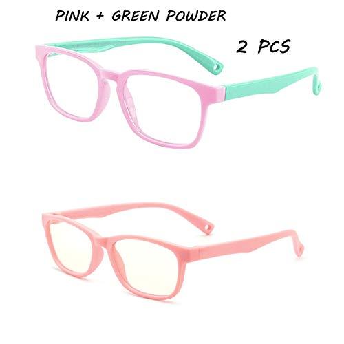 Gafas de bloqueo de luz azul para niños y niñas, protección de la vista, para niños de 3 a 12 años. 2 unidades, Polvo rosa y verde.