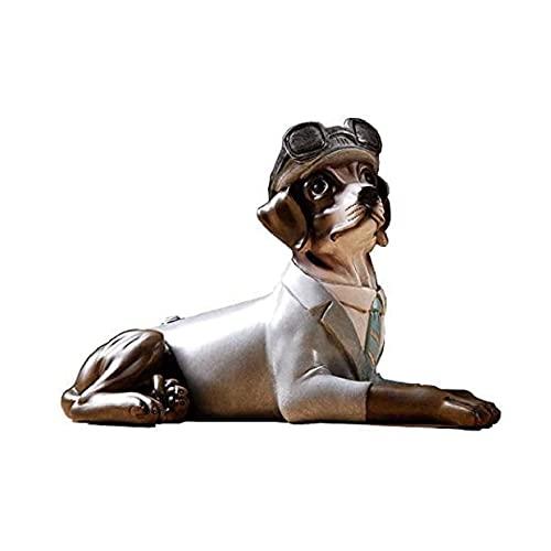 Décoration de bureau Accueil Ornement Statue de résine Statuette Dog Sculptures de chien Vintage Accueil Décoration artisanale Créative Salle de bureau Décoration de bureau Ornement Decorations de bur
