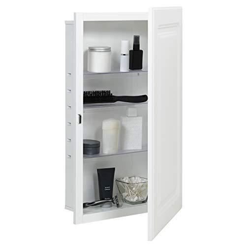 "American Pride ST9912RPR1 Recess-Mount Medicine Cabinet with Raised Panel Door, 16"" x 26"", Steel Body, White"