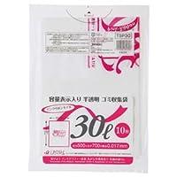 (まとめ) ジャパックス 容量表示入りゴミ袋 ピンクリボンモデル 乳白半透明 30L TSP30 1パック(10枚) 【×60セット】