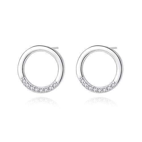 Kämise Silver Stud Earrings for Women, 925 Sterling Silver Diameter 1cm Circle Round Stud Earrings with White Cubic Zirconia, Hypoallergenic Sleeper Ear Rings for Girls Ladies Kids with Jewellery Box