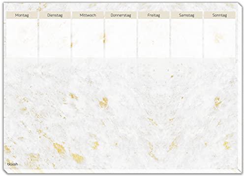 blaash Vade de escritorio con planificador semanal de papel DIN A3, bloc de 25 hojas, bloc de notas y ideas, vista semanal para tareas y citas, mármol dorado