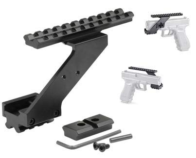 "Gotical Universal Pistol Hand Guns Picatinny Rail Mount Accessories for Mounting Flashlight Laser Sight, Scope w/ 7/8"" Picatinny Rail"