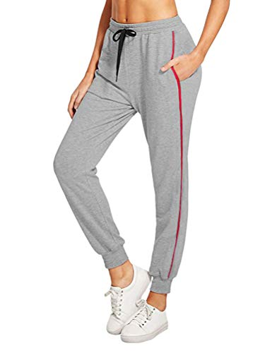 ORANDESIGNE Pantaloni Donne A Vita Alta Harem Pants Elastico in Vita A Striscia Laterale Pantaloni Sportivi da Donna Jogging Fitness Moda Lunghi B Grigio Medium