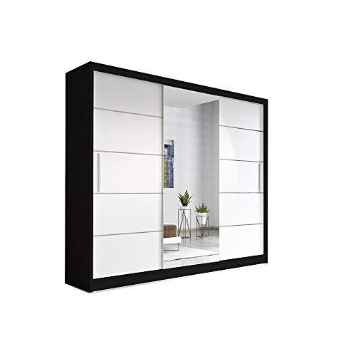 Kleiderschrank Schwebetürenschrank mit Spiegel, Kleiderstange und Einlegeboden für Schlafzimmer Wohnzimmer Schiebetüren Schrank Modern Design 250 cm ELBA (Schwarz + Weiß Spiegel)