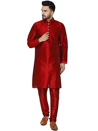 SKAVIJ Men s Art Silk Kurta Pajama Indian Traditional Suit Wedding Party Festive Season Dress Set (Medium  Red)