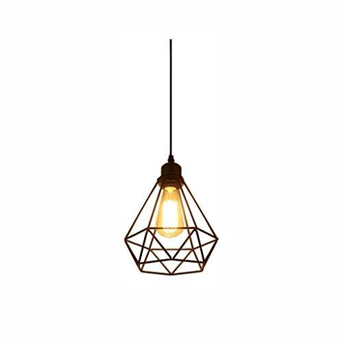 DYXYH Lámpara de Hierro - Industrial Lámpara de Diamante de la Vendimia Forma de Jaula de Metal Colgante de iluminación del hogar