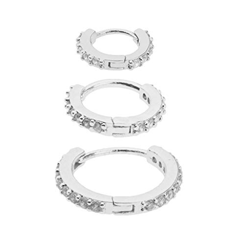 kowaku 3 Pcs Huggie Earrings Zircon Lobes Pierced Ear Studs Jewelry 3 Sizes