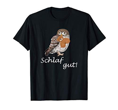 Eule mit Bär Vogel Zeichnung Schlafanzug Nachthemd Steinkauz T-Shirt
