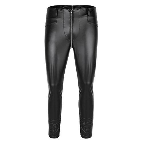 CHICTRY Herren Strumpfhose Wetlook Glanz Leder-Optik Leggings schwarz Hosen Unterwäsche Pants mit Zipper Schwarz Large