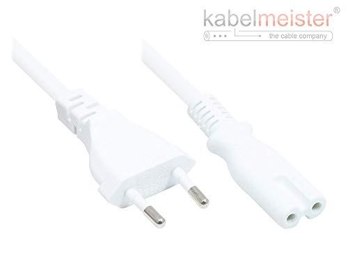 Kabelmeister Euro-verlenging - 20 cm - Euro-stekker type C (recht) naar Euro-bus (recht) - koperen kabel CU - 0,75 mm2 - stroomkabel verlenging 5 m recht - wit