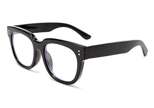 FEISEDY Retro Quadrat Dick Dicker Rahmen Blaues Licht Blockierende Lesebrille Blendfreier digitaler Überanstrengungsleser für die Augen B2523 (Schwarz , 2,00x)