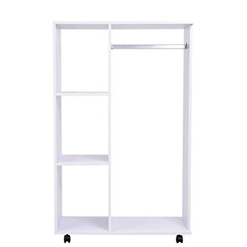 HOMCOM Mobiler Kleiderschrank Holzschrank Garderobenschrank Dielenschrank offen Weiß