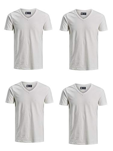 JACK & JONES Herren T-Shirt 4er Pack JJEBASAL V-Ausschnitt Kurzarm Slim Fit Basic Tee Baumwolle Einfarbig S M L XL XXL, Größe:M, Farbe:4X Cloud Dancer (12157247)