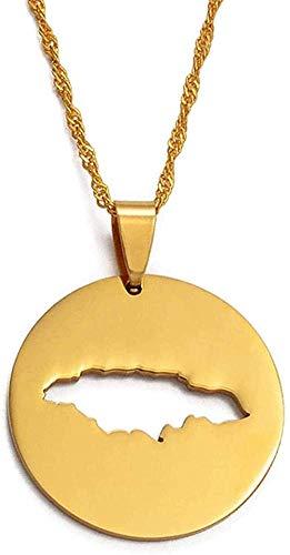Yiffshunl Collar Jamaica Collar Redondo Mapa Colgante Collar Joyería de Oro Jamaicano 017021 Collar Regalo