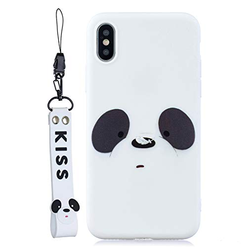 EuCase Coque iPhone XR Silicone Blanc Motif Housse Etui iPhone XR Antichoc Ultra Mince Fine Souple TPU Case avec Corde à Main Housse Protection Bumper Case Cover Ours Blanc