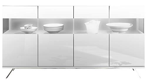 Kommode Sideboard Anrichte | Dekor | Weiß Hochglanz | 4 Türen mit Glaseinsatz | 184x101x50 cm