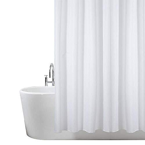 Tenda da doccia extra lunga in poliestere bianco resistente alla muffa e alla muffa, 180 x 220 cm