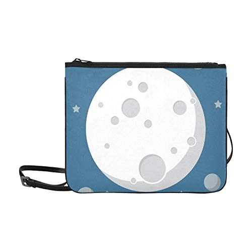 Fun Handbags Good Night Lovely Full Moon Sky Adjustable Shoulder Strap Lady Clutch Bag For Women Girls Ladies Best Handbag Lunch Bag Clutch