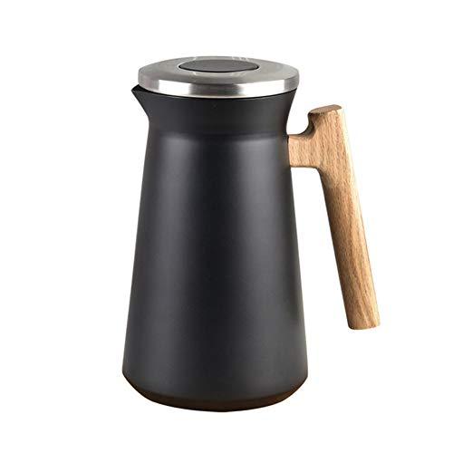 Caraffa Termica Isolata, Boccetta Termica Della Caraffa Del Caffè, Acciaio Inossidabile 304, Con Semplice Pulsante Di Sicurezza, Per Acqua Calda E Fredda Tè Caffè (Nero,1L)