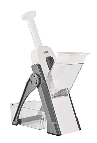 Lacor 60460 60460-Mandolina verticale multifunzione pieghevole, 4 tipi di taglio, senza BPA, plastica