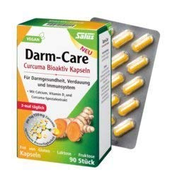 Curcuma Darm-Care. Für Darmgesundheit, Verdauung und Immunsystem 2x90Kaps. Mit Calcium, Vitamin D3 und Curcuma-Extrakt. Frei von Gluten, Lactose