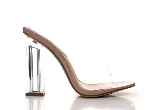 Cape Robbin Fusion Clear Chunky Block High Heels for Women, Transparent Booties for Women - Nude Size 8.5