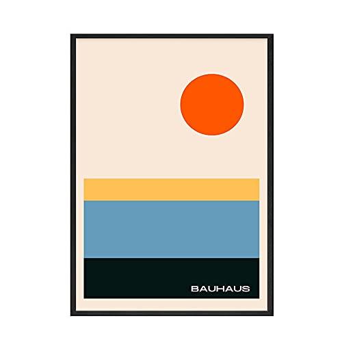 Abstrakte abstrakte Plakate und Drucke des Bauhauses drucken orange geometrische Kunstbilder, rahmenlose Leinwandbilder der Familie E 20x30cm