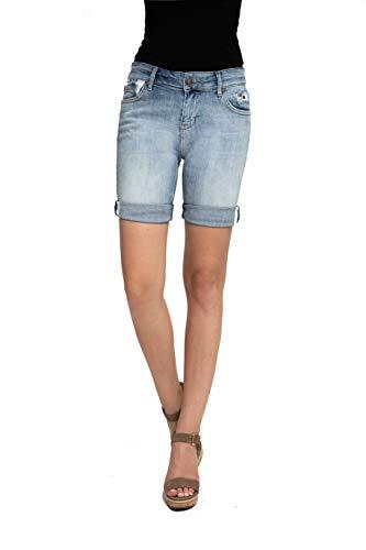 Zhrill Damen Shorts Mom Jeans Denim 5 Pocket Vintage Slim Fit Sharona Shorts, Farbe:W7338 - Blue, Größe:W32 / L7