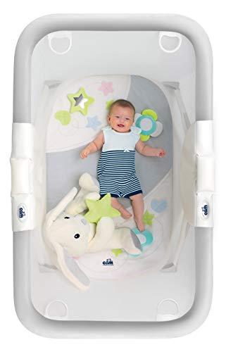 CAM Brevetato Millegiochi - Parque para bebés compacto y plegable, pasamanos resistente, incluye alfombra de juego, fabricado en Italia (conejito gris)