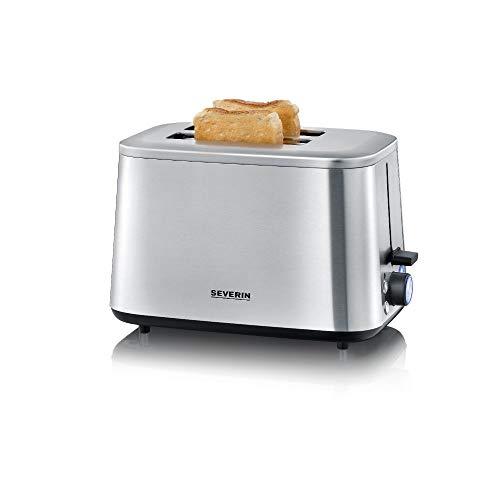 SEVERIN Turbo Toaster, Toaster mit Brötchenaufsatz, hochwertiger Edelstahl Toaster mit großen Röstkammern und 1600 W Leistung, Edelstahl-gebürstet/schwarz, AT 2513
