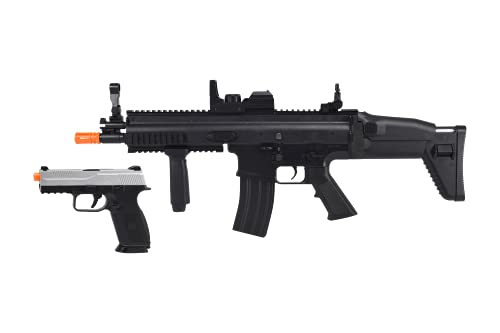 FN Airsoft Starter Kit Including FN SCAR AEG Electric Powered Gun with Hop-Up and FNS-9 Spring Pistol