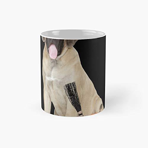 Taza clásica de Halloween con sombrero de bruja de mastín inglés | El mejor regalo divertidas tazas de café de 325 ml