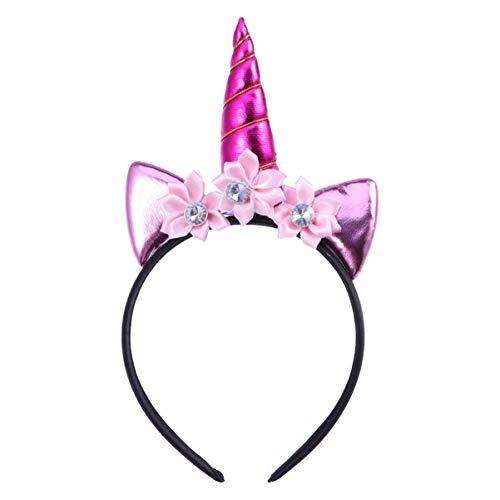 Lurrose 1 unid diadema de unicornio flor cristal diadema de pelo hecho a mano tocado para fiesta de cumpleaños disfraz de carnaval