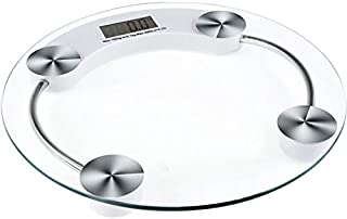 Scale Multipurpose 180kg body weighing scale LCD digital bathroom scale round glass scale (Color : White)