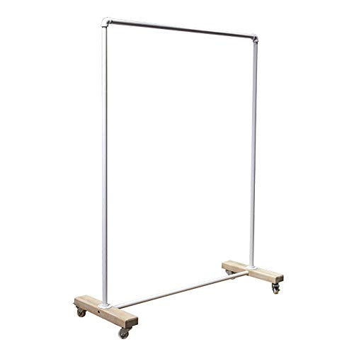 AFCITY - Perchero para ropa de ropa o ropa con ruedas y organizador de ropa (color: blanco, tamaño: 120 x 43 x 155 cm)