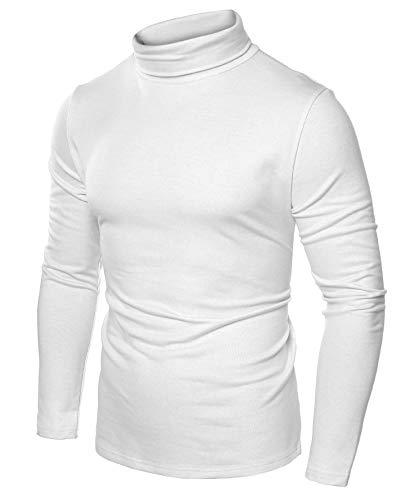 JINIDU Men's Slim Fit Turtleneck T Shirts Casual Cotton Thermal Pullover Sweaters (XL, White000)
