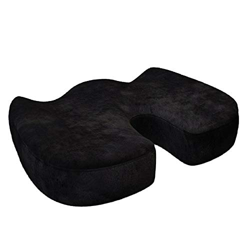 Solid Seat Cushion, Memory Foam Chair Cushion, Car Office Hip Massage Chair Cushions, for Car Office gift (Color : Black)