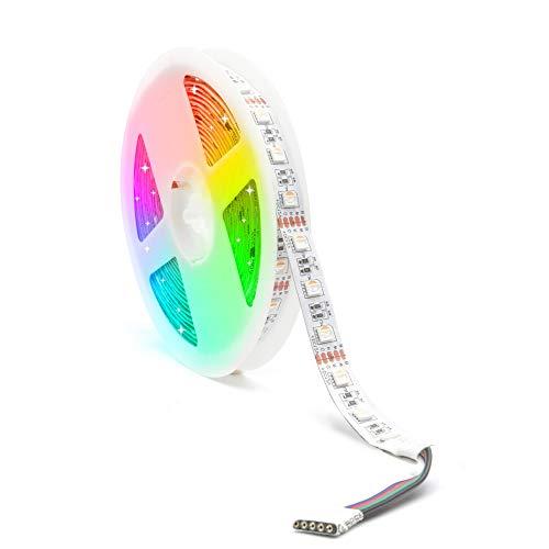 12V RGBWW LED Streifen LED Band LED Strip 5050 SMD RGB+Warmweiss 4 in1 LED Lichtleiste Lichterkette Deko Lichter Treppenlicht, 60LEDs/M 300LED