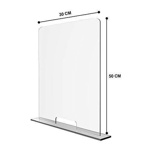 Solarplexius Mamparas de Protección, Escudo de Acrílico Transparente Plexiglass para Mostradores y Ventillas de Transacciones, Protección contra Estornudos y Tos (30 x 50 cm)