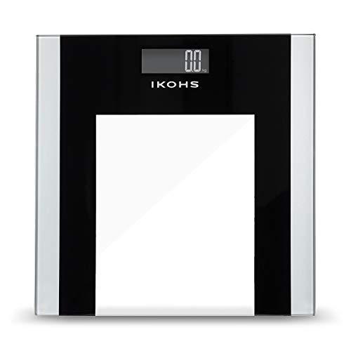 IKOHS ELEGANT WELLNESS - Báscula de Baño con Pantalla LCD, compacta, Capacidad de 180 kg, ITO Conductive Tempered Glass