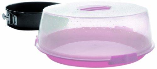 IBILI 826800 Protecteur de Tarte/Moule démontable Plastique/Acier Noir/Rose/Transparent 34 x 34 x 12 cm