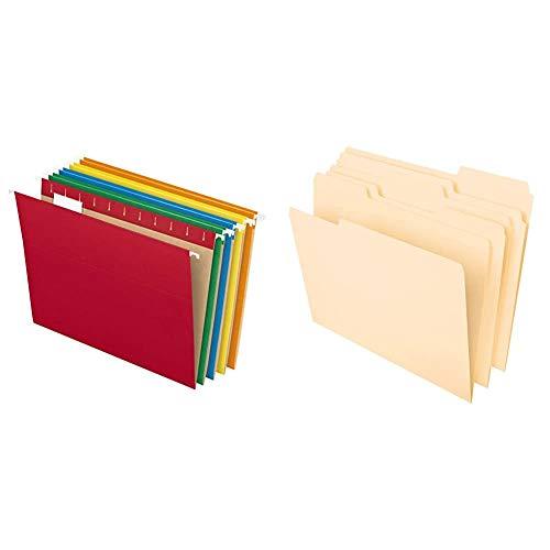 Pendaflex Hanging File Folders, Letter Size, Assorted Colors, 1/5-Cut Adjustable Tabs, 25 Per Box & File Folders, 8-1/2%22 x 11%22, Classic Manila, 1/3-Cut Tabs in Left, Right, 100 Per Box