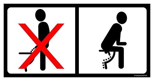 iSecur Toiletten-Aufkleber Bitte im Sitzen pinkeln I WC-Deckel-Aufkleber 20 x 10 cm I Sticker mit Piktogramm für Badezimmer Klodeckel Gäste-WC Wand I hin_096